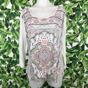 5 for $25 Lucky Brand White Printed Long Sleeve